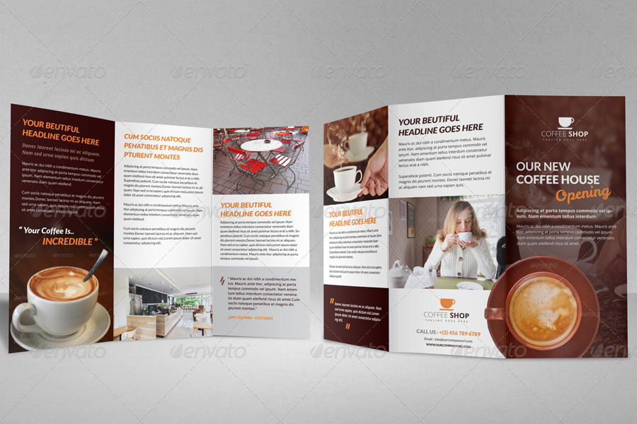 Coffee Shop Restaurant Trifold Brochure Template by JanySultana