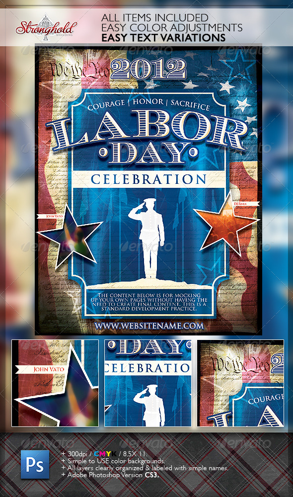 Vintage Labor Day Flyer Template by getstronghold GraphicRiver - labour day flyer template