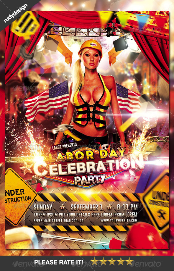 Labor Day Memorial Day Party Flyer Design by rudydesign GraphicRiver - labour day flyer template