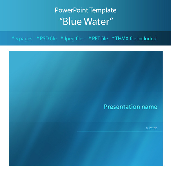 Blue Water Powerpoint Template by M-e-f GraphicRiver