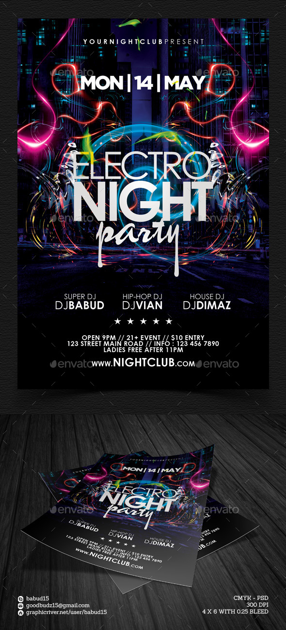 Electro Night Party Flyer Template by angkalimabelas GraphicRiver - electro flyer