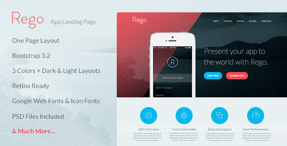 Rego - App Landing Page by TanguyAlbrici ThemeForest
