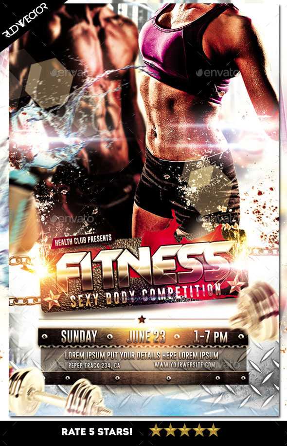 Fitness Sexy Body Workout Muscle Competition Flyer by rudyvector