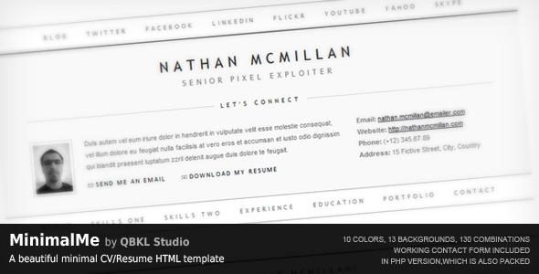 MinimalMe - Minimal HTML CV / Resume Template by QBKL ThemeForest