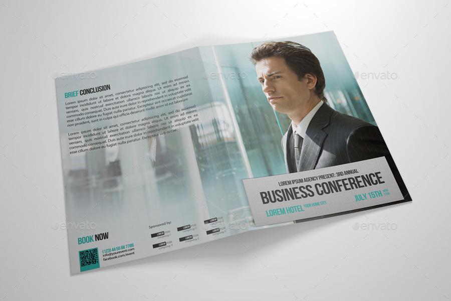 Half-fold Business Conference Brochure Template by petumDesign - conference brochure template