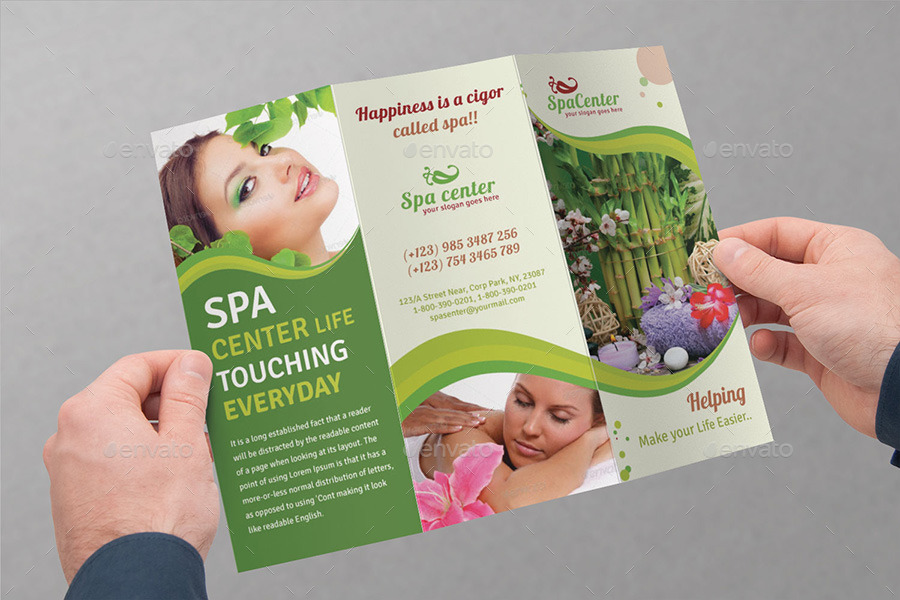 Spa  Beauty Saloon Tri-Fold Brochure Bundle v4 by dotnpix