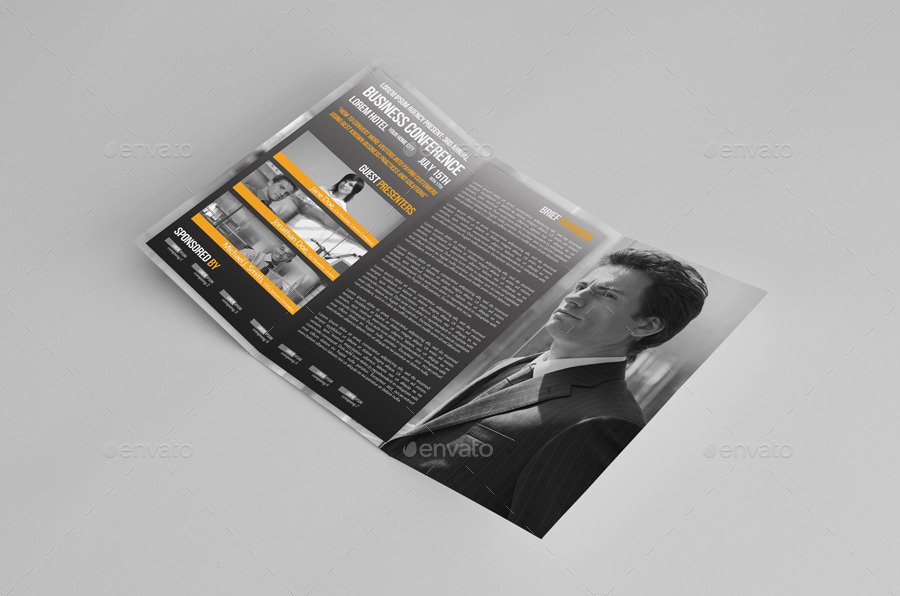 Trifold Business Conference Brochure Template by petumDesign - conference brochure template