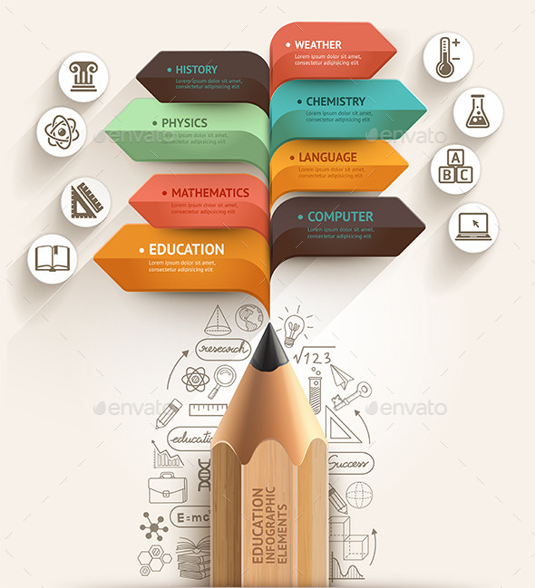 Education Pencil Arrow Infographics Template by graphixmania
