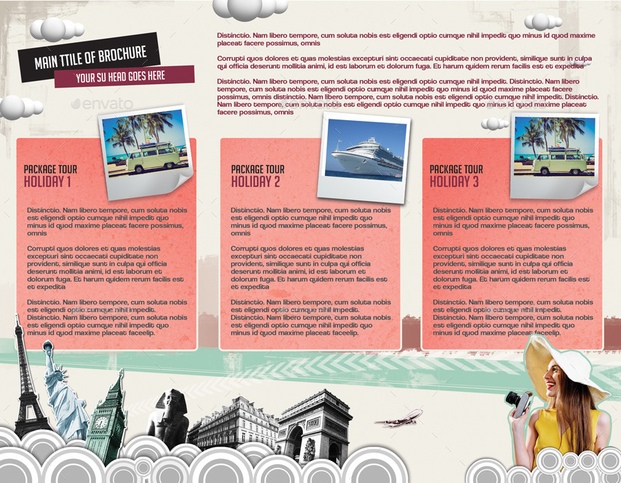 Retro Style brochure for Travel Company by creatwitter GraphicRiver