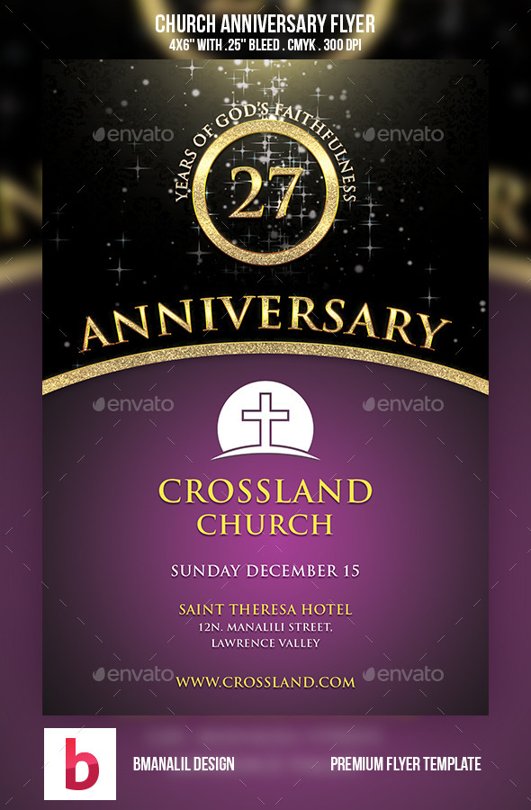 Church Anniversary Flyer by bmanalil GraphicRiver - anniversary flyer