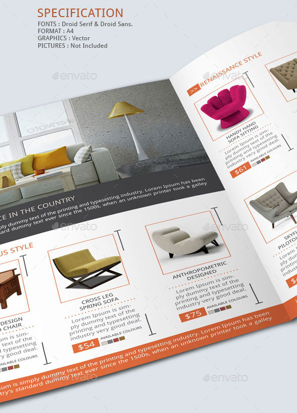 Sofa With Chaise Furniture Furniture Store Brochure Template By Blogankids | Graphicriver