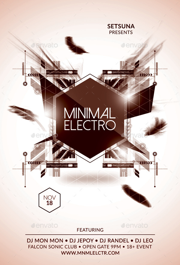 Minimal Electro Flyer by bmanalil GraphicRiver - electro flyer