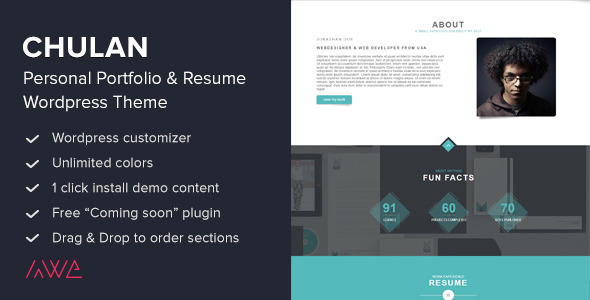 Chulan - Personal Portfolio  Resume Theme by awethemes ThemeForest - resume wordpress theme