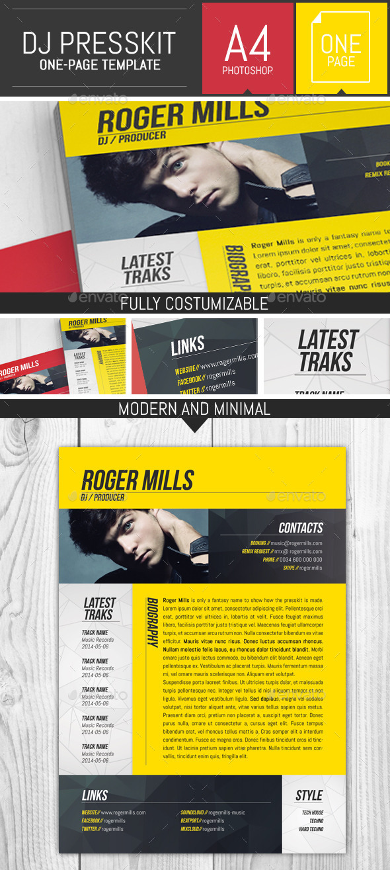 Dj / Musician OnePage Press Kit / Resume Template by DogmaDesign