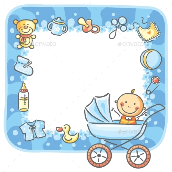 Baby Girl Wallpaper Borders Pink And Purple Frame With Baby Boy Things By Katya Dav Graphicriver