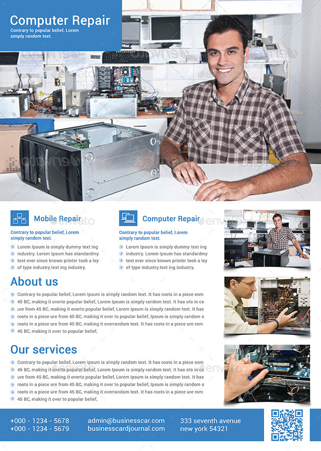 Computer  Mobile Repair Flyer Template by afjamaal GraphicRiver - computer repair flyer template