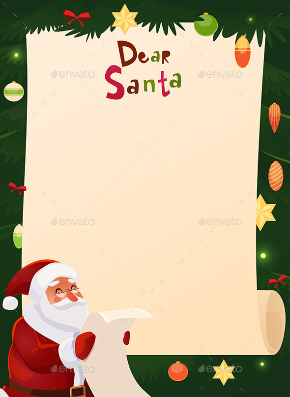 Wish List Card with Santa Claus by kimiko16 GraphicRiver - santa list blank