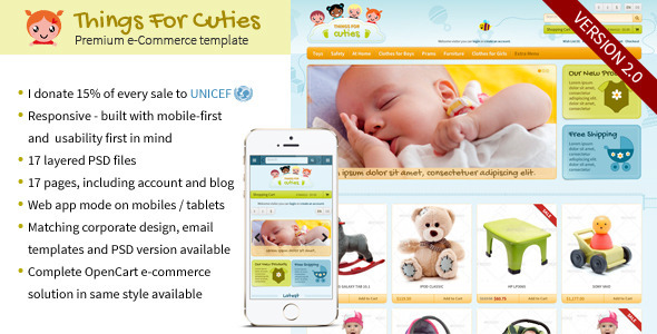 Things for Cuties - the E-Commerce Baby  Kids Shop Template by