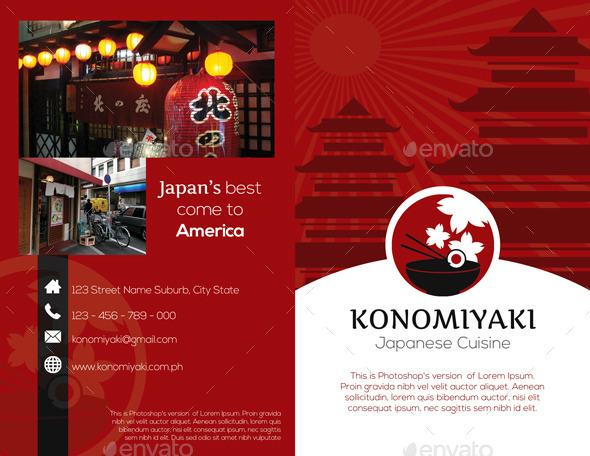 Japanese Restaurant Brochure Bifold Template by Isshiah GraphicRiver - restarunt brochure