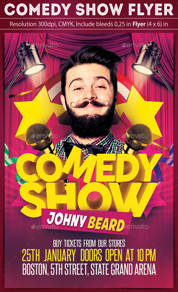 Comedy Show Flyer by grapulo GraphicRiver - comedy show flyer template