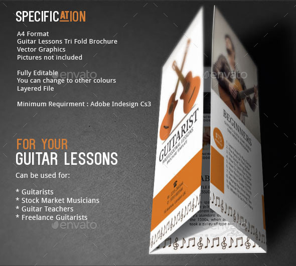Guitar Lessons Brochure Template by Adburst GraphicRiver - music brochure