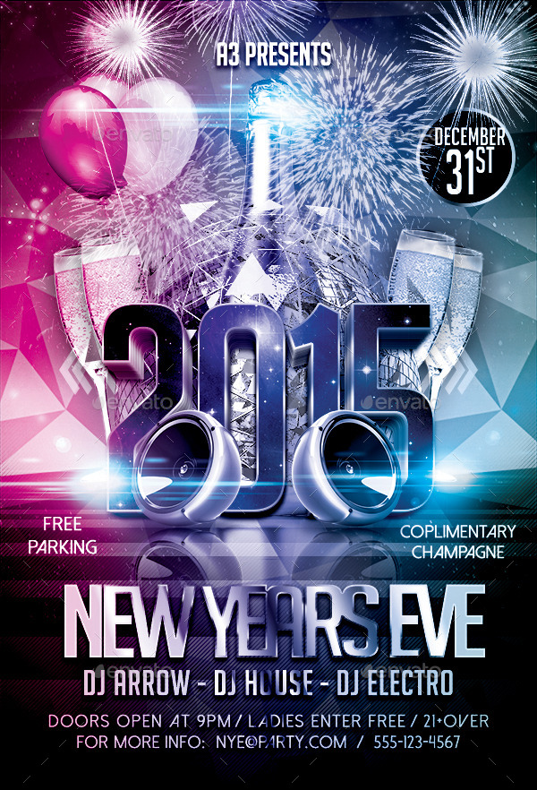 New Year\u0027s Eve Flyer Template by Arrow3000 GraphicRiver - free new years eve flyer template