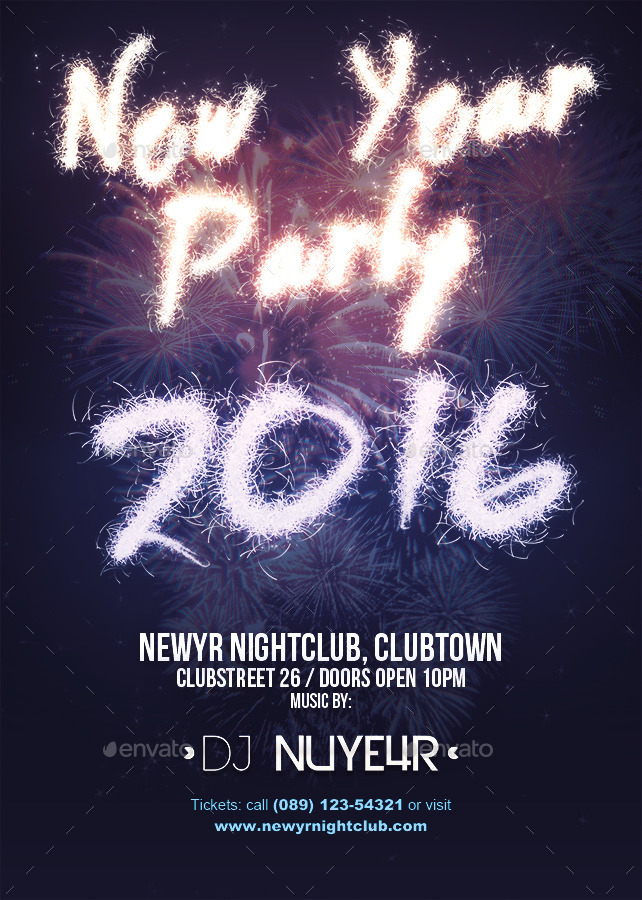 New Year 2015, 2016 Party Flyer Template by Overstage GraphicRiver - new year poster template