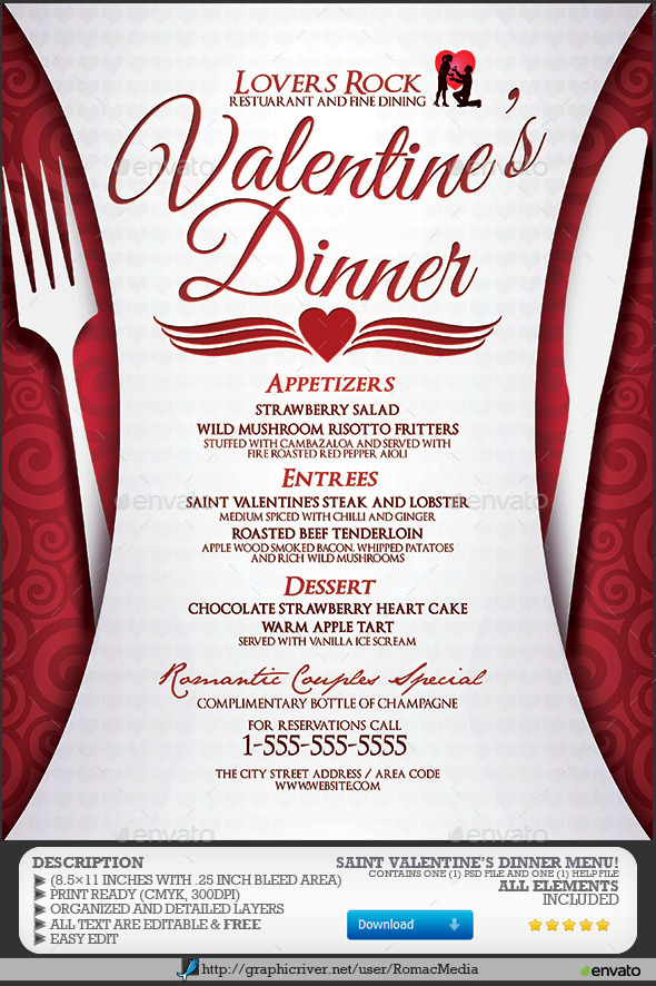 Valentine\u0027s Dinner Menu by RomacMedia GraphicRiver
