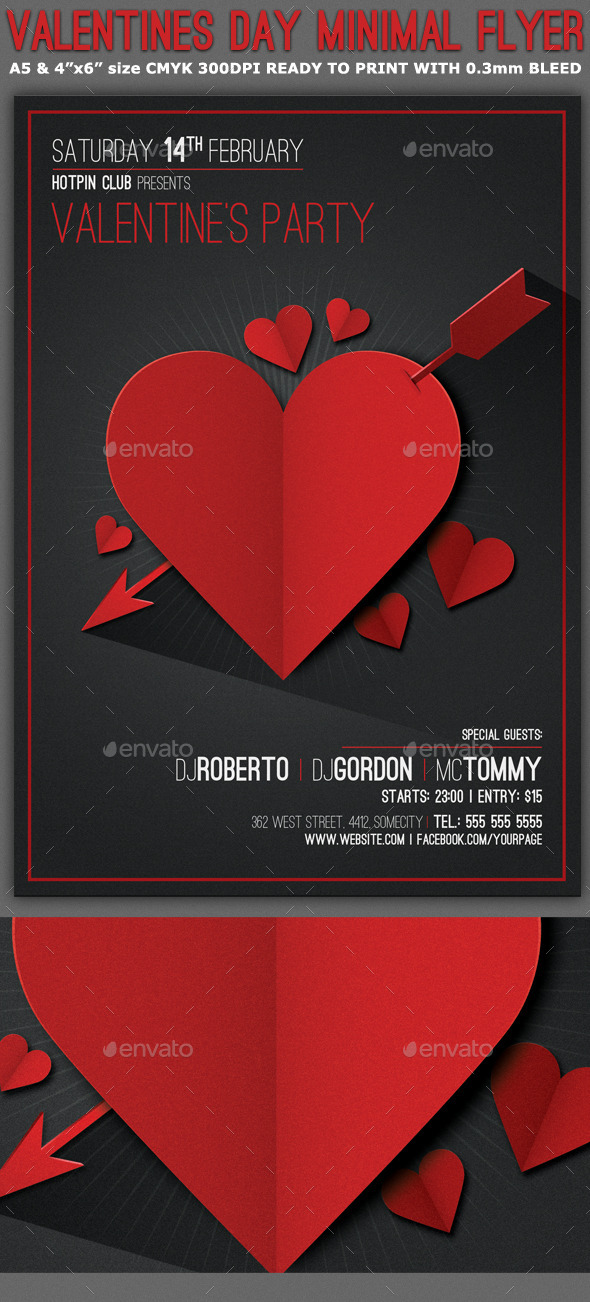 Valentines Day Minimal Flyer Template by Hotpin GraphicRiver