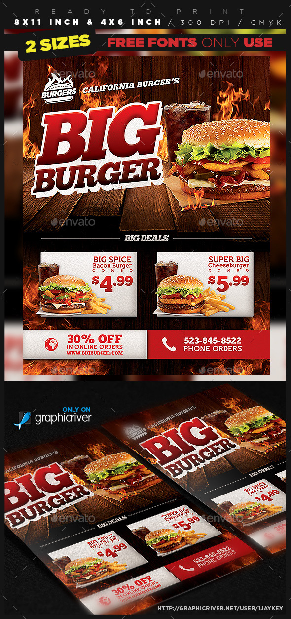 Burger Food Flyer Template by 1jaykey GraphicRiver - food flyer template