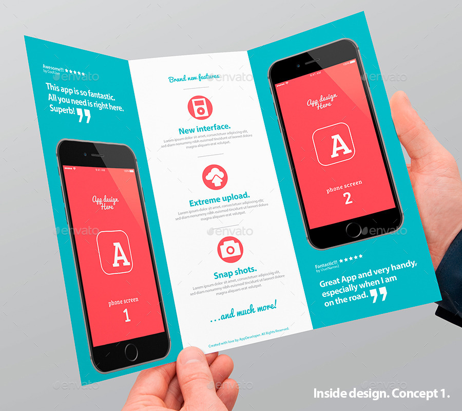 Mobile App Trifold Brochure vol1 by Level_Studio GraphicRiver