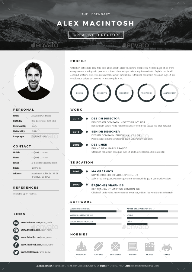 indesign cv examples download