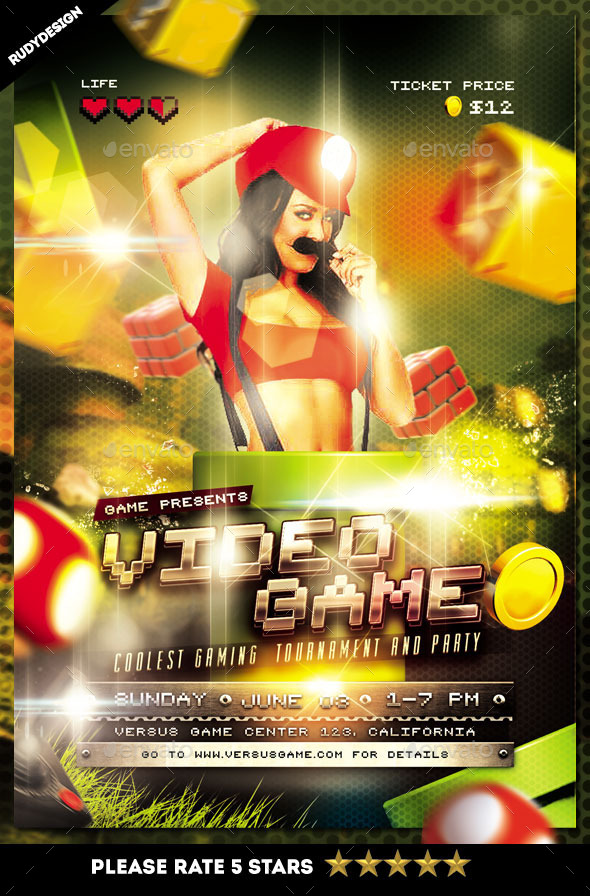 Video Games Party Flyer Template by rudydesign GraphicRiver - party brochure template