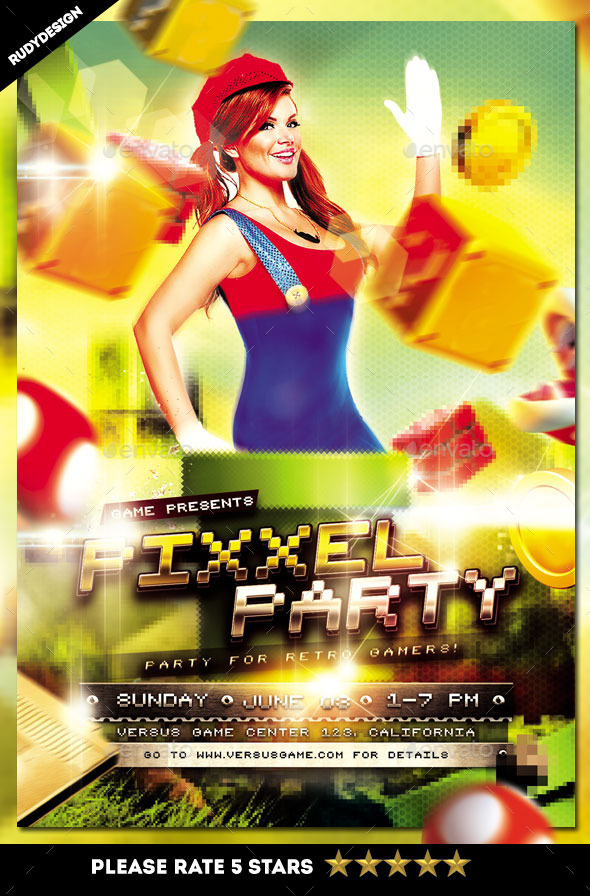Pixel Retro Video Games Party Flyer Template by rudydesign - video brochure template