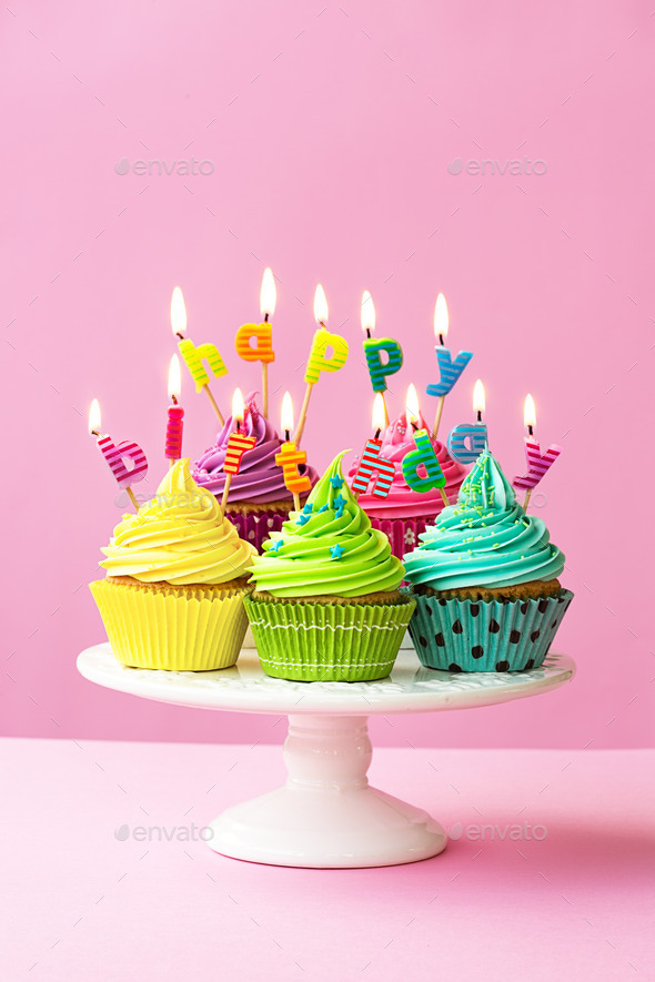 Happy birthday cupcakes Stock Photo by RuthBlack PhotoDune