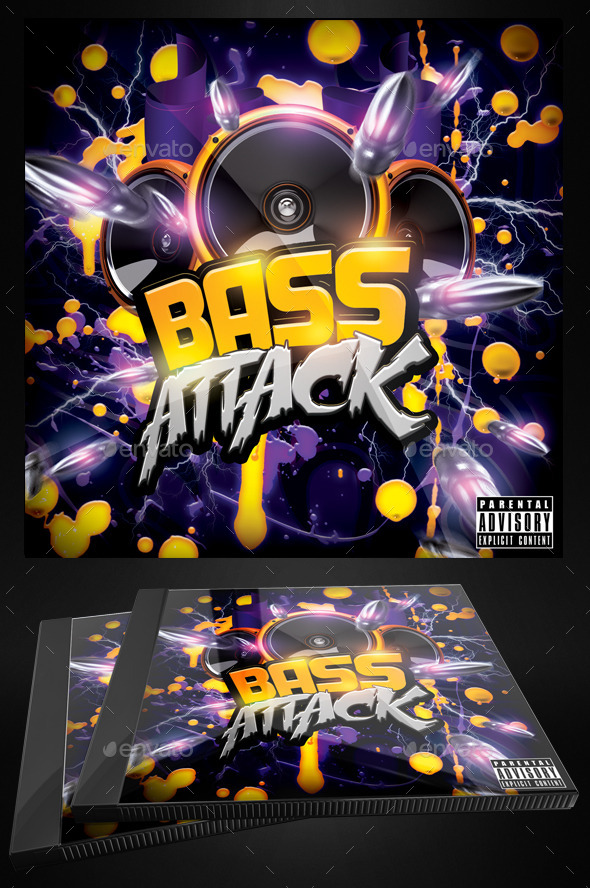Bass Attack - Electro Flyer or CD Template by Yellow_Emperor - electro flyer