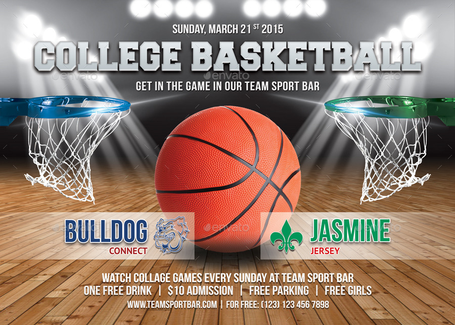 College Basketball Game Flyer Template 62 by 21min GraphicRiver