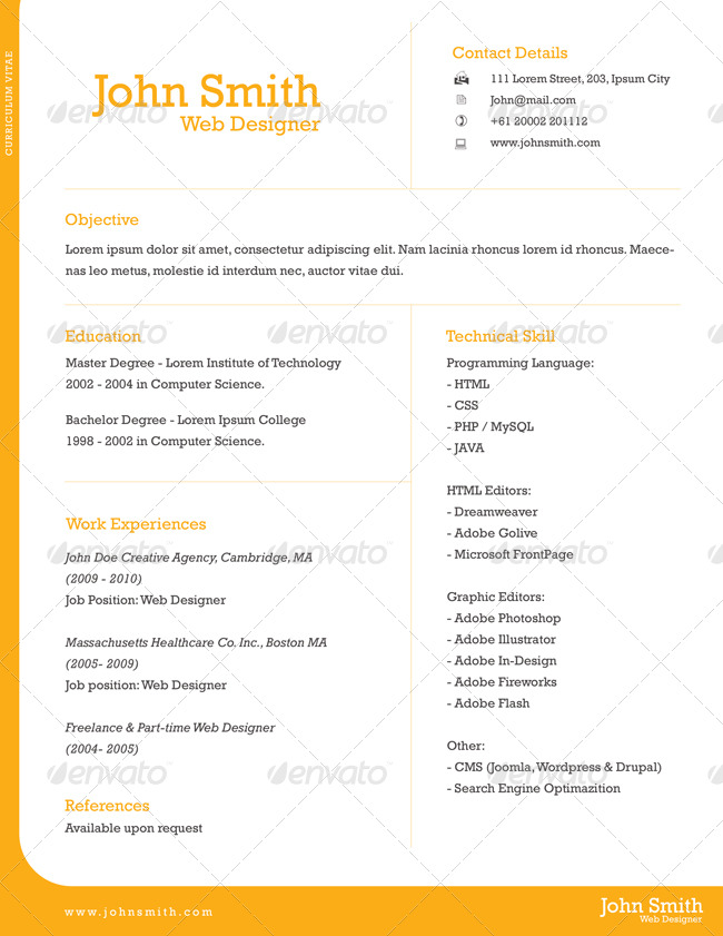 Professional One-Page Resume by kinzi21 GraphicRiver