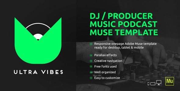 Ultra Vibes - DJ / Producer Podcast Muse Template by vinyljunkie - podcast website template
