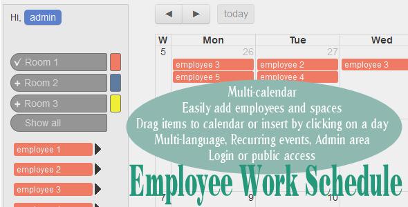Employee Work Schedule / Multi-calendar by wolberspl CodeCanyon - employee schedule calculator