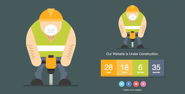 Jackhammer - Animated SVG Under Construction Page by dxc ThemeForest
