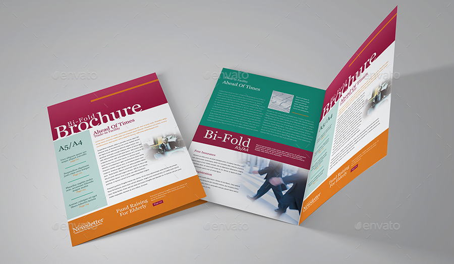 Vertical A4_A5 Bi-fold Brochure Mock Up by Brahmia GraphicRiver