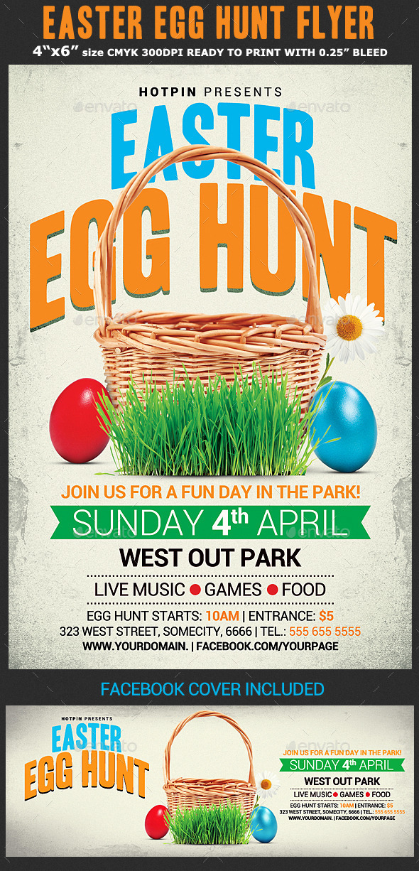 Easter Egg Hunt Flyer Template by Hotpin GraphicRiver - easter flyer template
