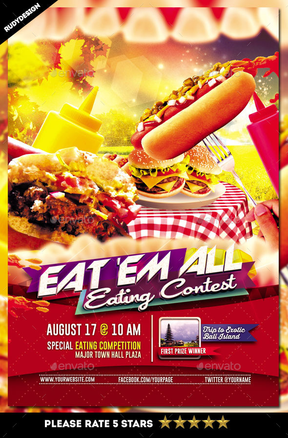 Eating Contest Flyer Template by rudydesign GraphicRiver - competition flyer template