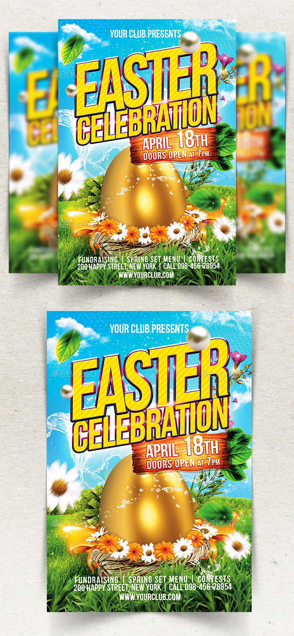 Happy Easter Flyer Template by Ju_Maj GraphicRiver - easter flyer template