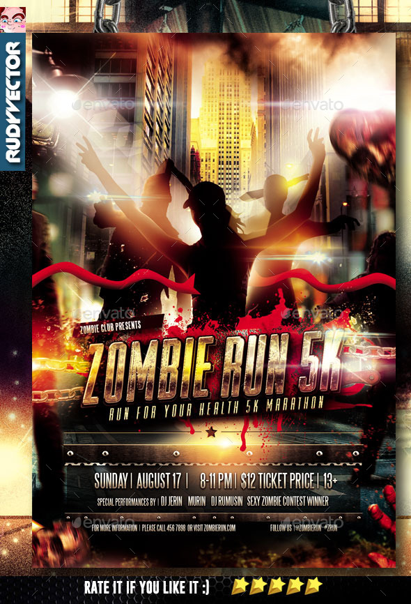 Zombie Run Marathon Event Flyer by rudyvector GraphicRiver