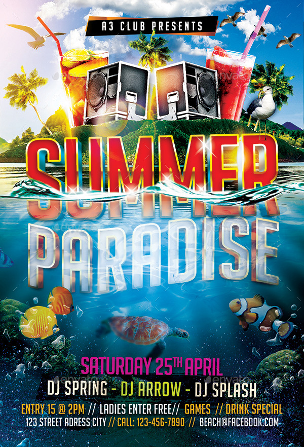 Summer Paradise Flyer Template by Arrow3000 GraphicRiver - summer flyer template