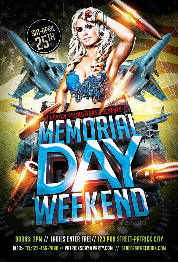 Memorial Day Weekend Flyer Template by Arrow3000 GraphicRiver