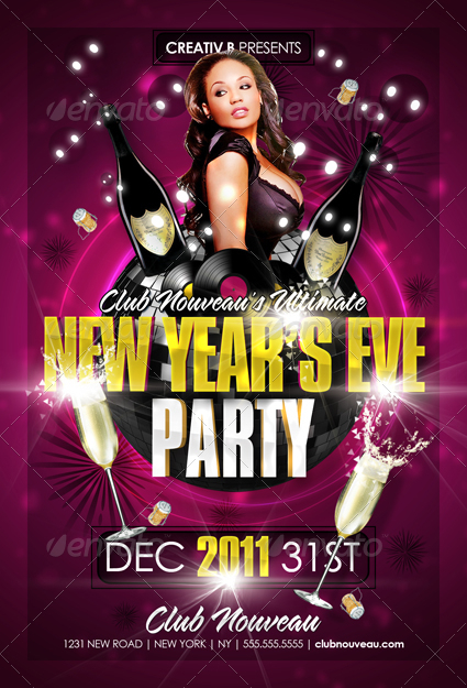 New Years Eve Party Flyer Templates by CreativB GraphicRiver - new years party flyer