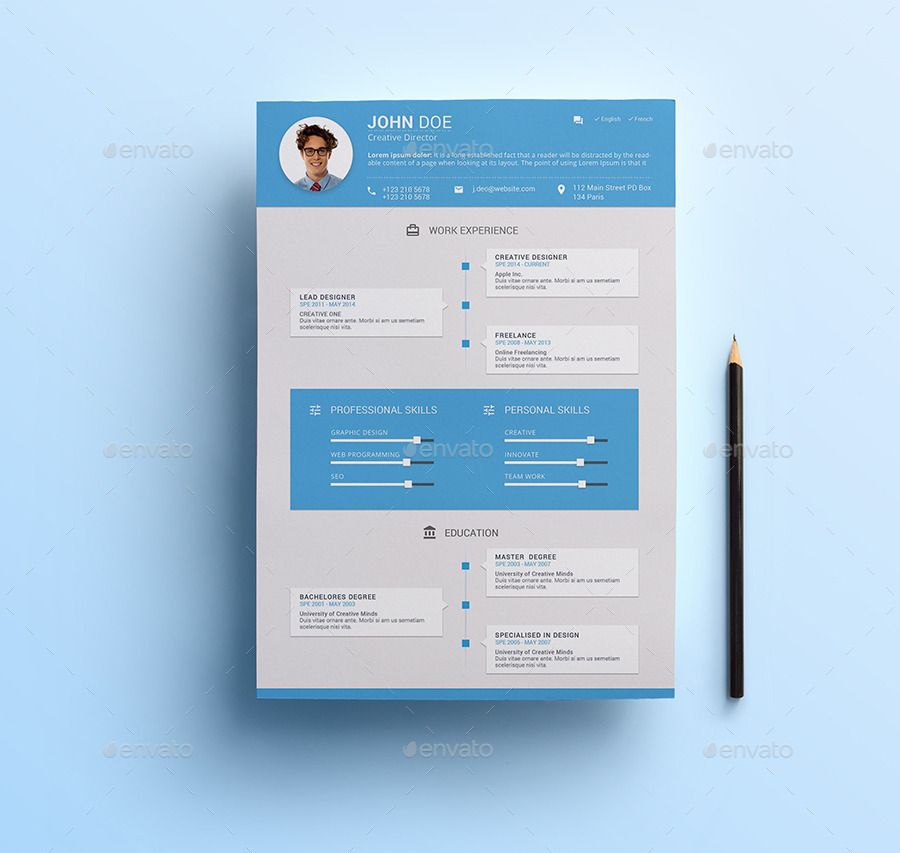Material Design Resume by Nishow GraphicRiver - Resume Design